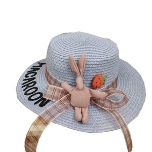 2020 new Summer cute girls hats bows letter kids hats girls bucket hat kids straw hat baby cap sun hats beach hat retail B1210