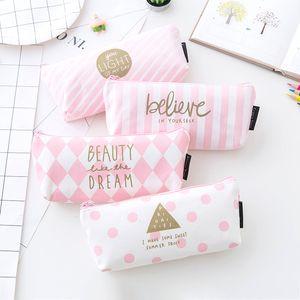 قماش الشريط حالة من رصاص للفتيات لطيف هندسي الوردي حقيبة مقلمة القلم مربع القرطاسية اللوازم المدرسية الحقيبة اجتماعيون