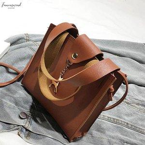 Pinshang Shoulder Bag Fashion Simple Messenger Bag Deer Ornaments Pu Leather Handbags Solid Color Phone Coin Bag Girl Clutch