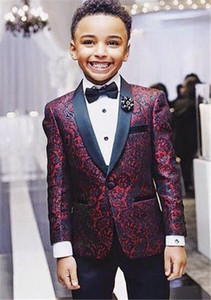 Boys Tuxedos Handsome 2 Pieces Burgundy Boy Suit Formal Wear Black Lapel With Black Pants Children Kids Wedding Tuxedo