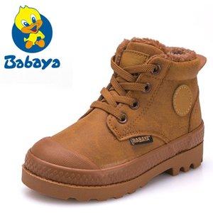 Crianças Boy Boots 2018 Outono Alta Botas De Couro Para O Menino de Borracha Botas de Neve Anti Deslizamento Moda Lace-up Sapatos de Inverno Y190525