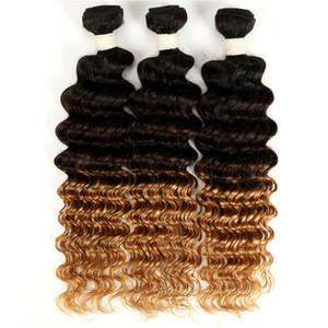 يحوك البرازيلي أومبير موجة عميقة الشعر 3/4 حزم 1B 4 27 أومبير ملحقات الشعر البرازيلي العميق الضفائر 3 نغمة الإنسان نسج الشعر