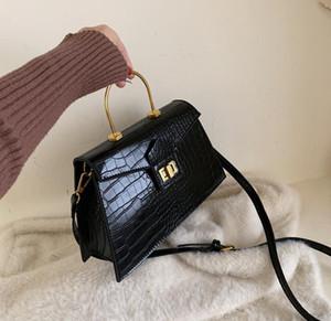 Diseñador Mayor de las mujeres manera de los bolsos de cocodrilo bolsas de hombro anillo de la mano del metal de las mujeres de Crossbody del nuevo estilo bolsas de alta calidad