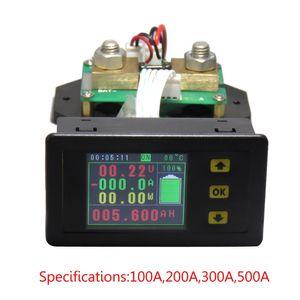 monitoramento DC 120v 100A 200A 500A LCD Combo medidor de tensão atual KWh Watt Meter 12v 24v 48v 96V Battery Capacidade de potência