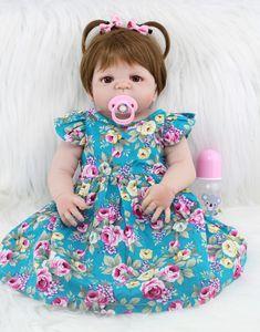 55cm Tüm Vücut Silikon Reborn Kız Baby Doll Oyuncak Gerçekçi 22inch Yenidoğan Prenses Bebek Bebekler Bebek Doğum Hediye Mevcut Y191207