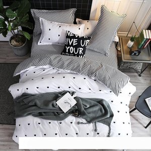 A 4pcs Fashion Simple Style Home Bedding Sets Bed Linen Duvet Cover Flat Sheet Bedding Set Winter Full King Single Queen