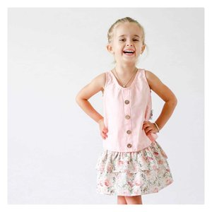 Summer Infant Baby Girls Set Kids Sleeveless Vest Tops + Florals Skirt Girl 2pcs Outfits Children Set 15031