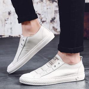 Cuir véritable petit chaussures blanches Hommes Chaussures de sport en cuir Mode Casual Chaussures respirantes sauvage tendance étudiants flats C4