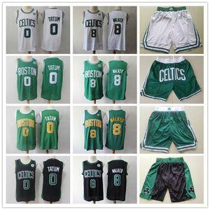 Mens Boston.Celtics.Jersey Kemba 8 Walker Jayson 0 Tatum Basquetebol Shorts Basquetebol Jersey Verde Branco Preto