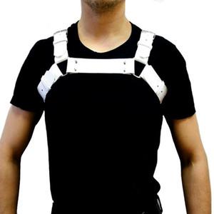 New Mens PU Couro Preto fresco Ombro Corpo Peito Harness Ajustável Cinto de Costura para Os Homens Sexy O-rings Partido Bondage Lingerie