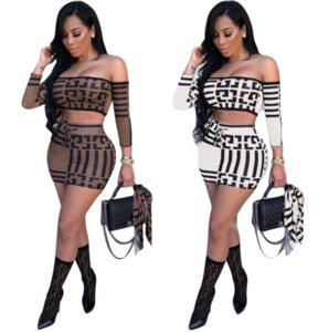 Women Designer Two-Piece Set Luxury Geometric Pattern Cropped Top + Skirts Sexy Two Piece Dresses Street Style Clothing