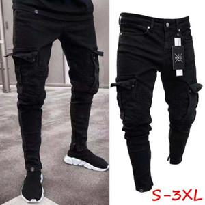 Slim Fit брюки размер Oversize мужская мода S-3XL 2019 новое поступление Мужские брюки рваные байкерские тощие потертые разрушенные