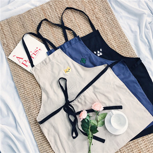 cute embroidered men women adult apron chef kitchen cooking barbecue waist cloth cotton work house cleaning aprons