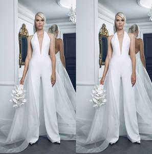 2019 Sexy Plus Size vestidos de novia de mujer monos con tul Overskirt Deep V cuello Pure White Beach vestido de novia vestidos de novia