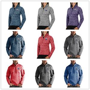 Edmonton Oilers Antigua Kadın Fortune Kazak Süveter Çeyrek Zip Kazak tasarımcı ceketler eşofmanı hip hop Baskılı Logolar mens Half-Zip