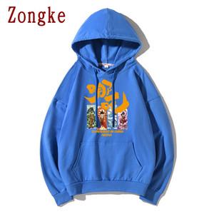 Zongke Çin Anime Ne Zha Hoodie Erkekler Streetwear Mens Kapüşonlular Hip Hop Hoody Kazak Erkekler Hoodies Sweatshirt 5XL 2019 Yeni