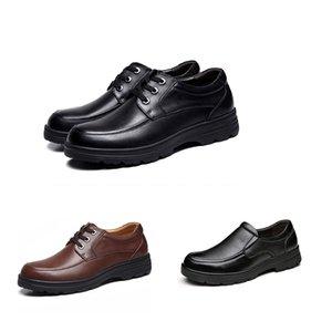 2019 baratos superiores para hombre de calidad de los zapatos de los hombres de negocios vestido para arriba los zapatos de cuero negro de zapatos Triple invierno ocasional, además de terciopelo de Corea
