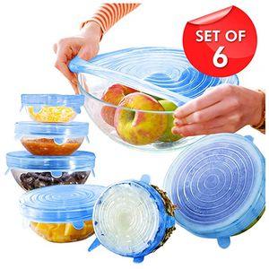 Прозрачный силиконовый Stretch Охватывает 6-Pack Различных размеров многоразовых Силиконовые крышек для чаши, Can, Jar