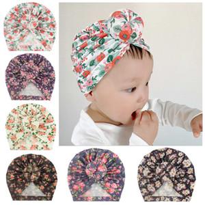 New children dounut headband cap infant toddler hat baby flower turban print headwrap kids hairband ball dount