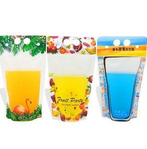500ml Plastic Drink Packaging Bag Flamingo Fruit pattern Stand-up Drink Bag for Beverage Juice Milk Coffee KKA7881