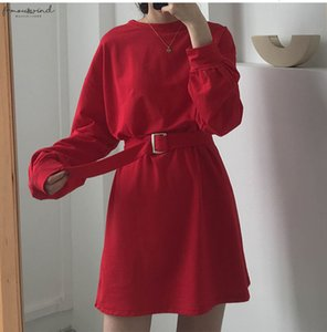7 Colors 2020 Spring And Autumn Solid Color Long Sleeve Dress Women Korean Style Dress Women With Belt X218