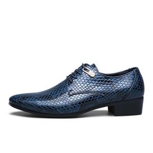 Baoluma nuovo artificiale in pelle di serpente uomini scarpe oxford lace up casual uomini d'affari a punta degli uomini di nozze abito barca