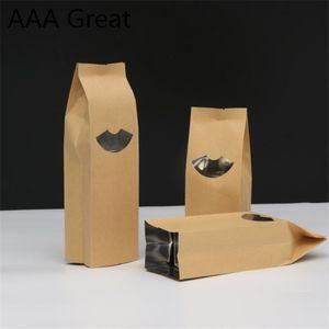 100Pcs / Lot Alüminyum Folyo Kraft Kağıt Torba Gıda Çay Plastik Pencere Kılıfı Şeker Depolama Taneleri Pirinç Snack Malzemeleri Çanta Packaging