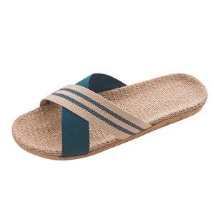 DAILOU hommes Linge Tongs Ruban rayé Sandales plates antidérapantes Linen Slides Accueil Slipper Man Casual Shoes Straw Plage