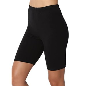 2020 Nouvelle Femme Sport Taille haute actif à court Leggings solide mi-cuisse Stretch Cotton Span Respirant Gym course