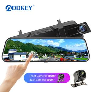 ADDKEY 10-Zoll-Touch-Auto Dvr Streaming Rear View Mirror-Schlag-Kamera FHD 1080P Video Recorder Doppelobjektiv mit Rückfahrkamera