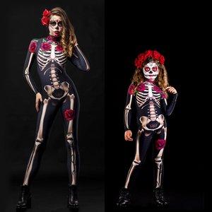 Gül Baskı olan kadınlar İskelet Cadılar Bayramı Kostüm bodysuit - Seksi İskelet Kostüm Jumpsuit-Çocuk İskelet Cadılar Bayramı Kostüm bodysuit