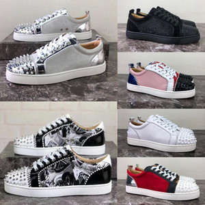 Hommes Luxe Rouge Bas Spikes Chaussures Chaussures Mode gros Femmes Hommes Chaussures Rivets causales Low Top Sneakers Red Bottom Designer