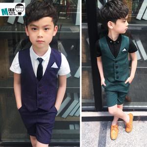 2020 Sommer-Kind-Kleidung stellt formale Kleid Junge Hochzeitsanzüge Vest Shorts Kids School Outfit Striped Big Boy-Kleidung-Kostüm