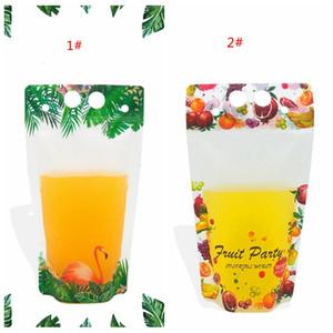 500ml de boisson en plastique Pochettes Sacs d'emballage Flamingo fruits Motif clair Stand-up potable Sac pour les boissons Jus Café au Lait DBC BH3805