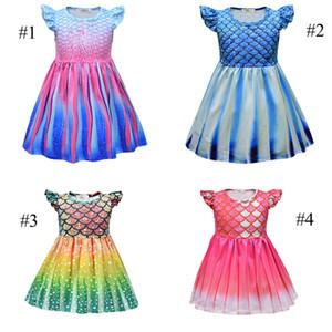 Bebek Kız Mermaid Prenses Elbise Çocuklar Için Kar Krallığı Cosplay Kostüm Çocuklar Küçük Sinek Sleeve Fırfır A-Line Elbiseler Çocuk Giyim