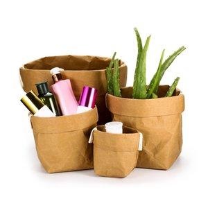 Моющегося Kraft Paper Bag Складной Sundries Организатор мешок цветок Суккулента бумага Kraft горшок цветы сумка Home Decor