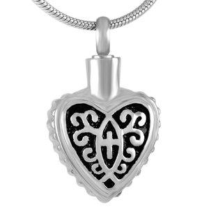 스테인레스 스틸 화장 목걸이 유골 검은 십자가 심장 유적 Urn Holder Memorial Jewelry IJD9298