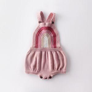 0-24M recente infante ragazzi ragazze pagliaccetti maniche arcobaleno Stampa Pulsante MAGLIA tute 2 colori B431