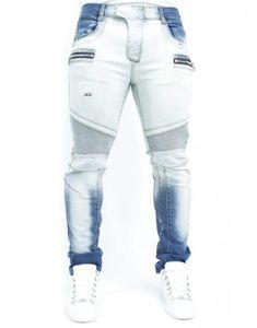 Zipper Jeans Mens Designer Pencil Pants Mens Bleached Washed Joggers Fashion Mens