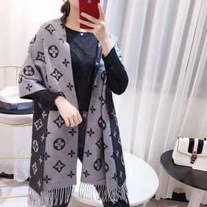Otoño e invierno nuevo estilo femenino de lujo de alta calidad con flecos de doble cara de dos tonos de mezcla de cachemira bufanda chal