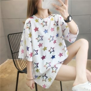 80 cotton fashion brand five-pointed star short-sleeved underpants T-shirt women's Midi loose base shirt summer clothes ins