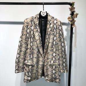Spring Snake Print Blazer Mujer Trajes Vintage Blazers Mujer de manga larga con bolsillo Leopard Office Lady Chaquetas