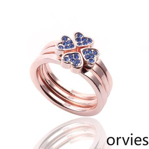 2020 Designer Lucky Grass Love Diamond Three-piece Ring Electroplating Rose Gold Heart Ring