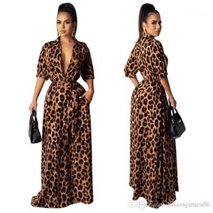V шеи Половина рукава Сексуальная женщина одежда Мода Стиль Повседневная одежда женщин Leopard Desinger Макси платья осень