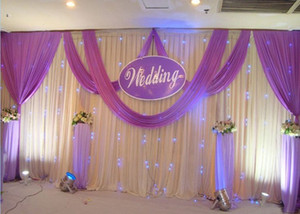3*6m (10ft*20ft) Wedding Curtain Backdrops with silver Sequins Swag Ice Silk Wedding Party Stage backdrop curtion event party decortaion