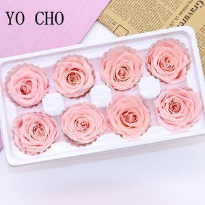 YO CHO 8 Pcs / Caixa de alta qualidade preservada Flores 4-5cm preservados Presentes Eterno rosas Valentines Day Newyear Immortal Rose CJ191223