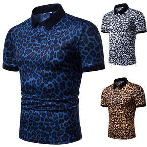 E-BAIHUI الرجال بولو شيرت 2019 الصيف أزياء ليوبارد طباعة قصيرة الأكمام طية صدر السترة تي شيرت عارضة قميص بولو L078 الذكور