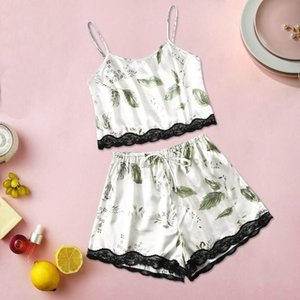New Style Sexy Women Plus Size Print Nightwear Camisole Shorts Pajamas Set Bowknot Lace Lingerie For Female Sleepwear 3XL-6XL