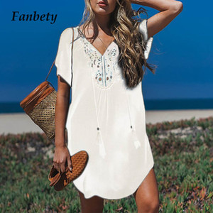 Fanbety Plus size Tassels Beach Wear dress Women Swimsuit Cover Up Bathing Summer Mini Dress Loose Solid Pareo Cover up