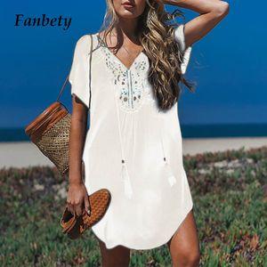 tamanho Fanbety Além disso borlas Praia usar vestido Mulheres Swimsuit Cover Up de banho Verão Mini vestido solto Pareo Sólidos Cubra